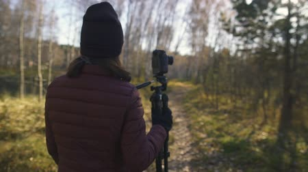 Beautiful young lady carrying out tripod at golden hour and walking around forest road at autmn Stock Footage