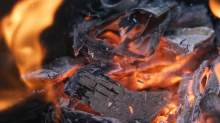 nugget : Burning wood and coal in fireplace. Closeup of hot burning wood, coals.