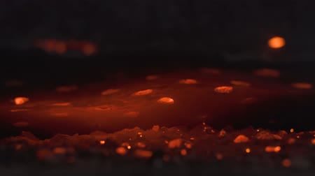 arson : flame and flying sparks in the furnace. Closeup of hot burning wood, coals. Stock Footage