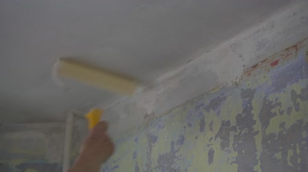 A woman uses a roller to cover a beige wall with white paint.