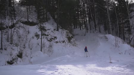 kockázat : Woman with backpack hiking Lifestyle adventure concept. girl hiking on a winter forest with sticks.
