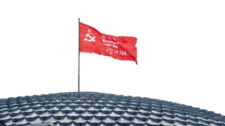 lenin : The flag of the Soviet Union USSR waving in the wind. slowmotion.