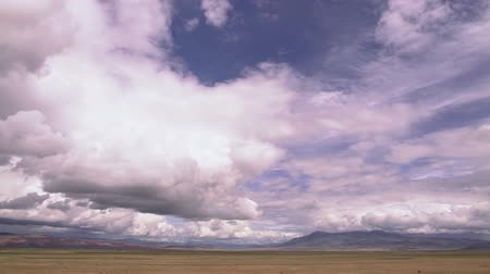 moving near woods forest and mountain valley with rain and clouds. Movement along the steppe, with mountains in the background. Expressive clouds Stok Video
