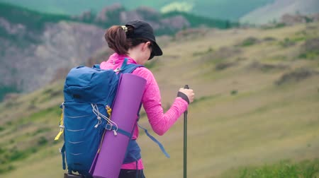young woman hiker with blue bagpack hiking in beautiful mountains with green grass.