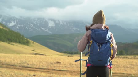 aim : Woman hiking. Hike in the mountains. Woman traveler with backpack on beautiful summer landscape Stock Footage