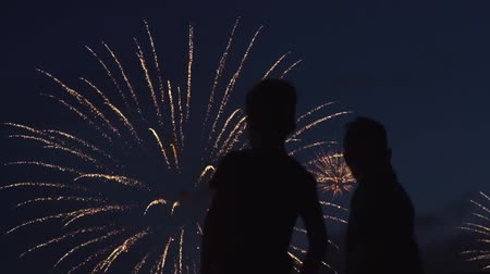 brothers : Silhouette of boys who watch the fireworks in the night sky. Bright and colorful lights in the sky. A beautiful sight is watched by the guys. Red, green and orange lights in the blue sky