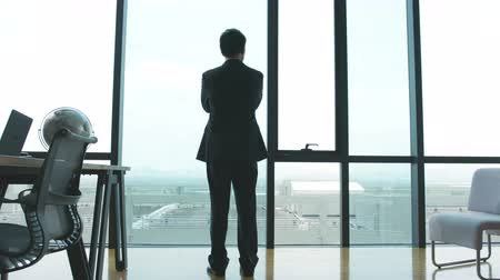 crossed : businessman standing in front of windows looking into distance