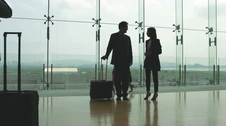 singaporean : asian business man and woman standing and talking in airport terminal building.