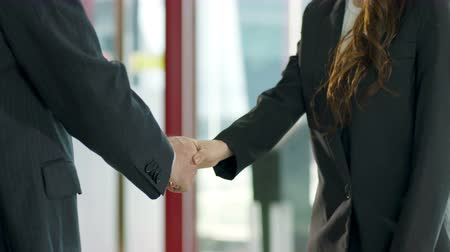 representante : businessman and businesswoman greeting each other by shaking hands.