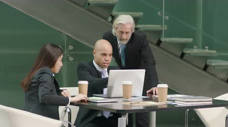 analyzovat : multiethnic corporate executives discussing business in meeting in office using laptop computer.