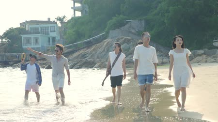 mladistvý : group of young asian adults men and women having fun walking on beach.