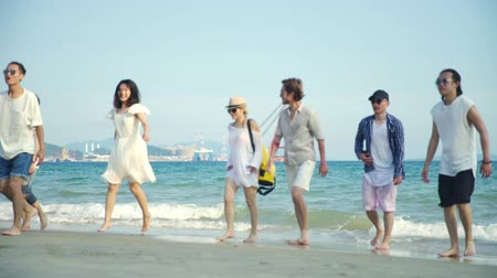 sedm : young asian adults having fun walking on beach