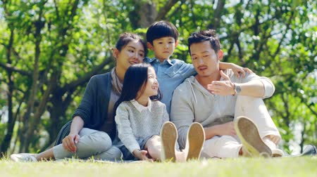 eight : asian family with two children sitting on grass outdoors in a park talking chatting Stock Footage