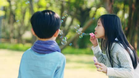 elementary age : asian little boy and girl playing blowing bubbles outdoors in park