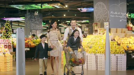 feliz : asian family with two children grocery shopping in supermarket
