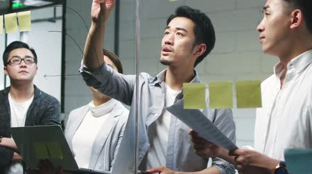 hongkonger : young asian business man presenting idea to teammates by drawing a diagram on meeting room glass wall