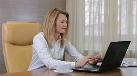 oneself : Woman working on the laptop in the office Stock Footage