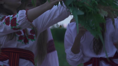 seio : Young girls in national costumes weave a wreath. Beautiful girls are sitting on the beach near a tall grass.