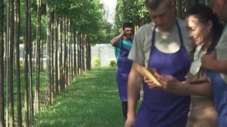 enforcamento : Guy in the headphones is dancing in the garden. The gardener enjoys the music in the park. Dancing guy. Employees of the garden center read the information on the tablet. Stock Footage