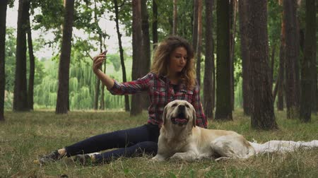 tur : Pretty lady is making selfie with her dog. Labrador is naughty and trying to lick human. Woman is spending time with the dog in forest. Rest with favourite pet outdoor.