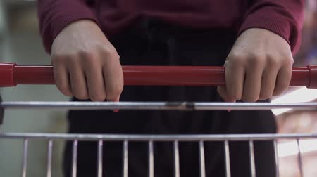 precisão : Female hand close up with shopping cart. Female hands on grocery cart in the store.