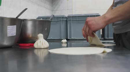 twaróg : Hands of cook making khinkali with cottage cheese close up. Georgian cuisine. Food preparation in modern restaurant. Dough products making Wideo