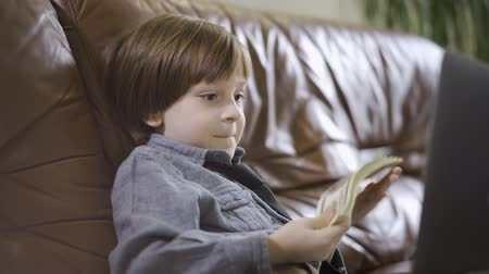 feixes : The little boy in jeans jacket sitting on the leather sofa in front of laptop playing with the money. A bundle of dollars in childs hands. The leisure of modern kid. Cute happy son of rich parents