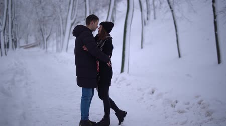 kuss : Young couple meets in a snowy park and kissing. Date of young couple. Leisure outdoor.
