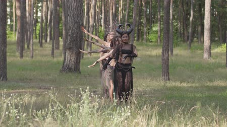 сказка : Group of women dancers with make-up and in mystical fabulous costumes dancing groovy dance in the forest. Forest fairies, dryads have fun among the trees. Performance of dancers outdoor.