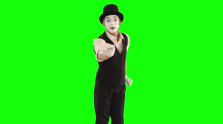acteur : Funny cute male mime with white face in white and black clothes doing performance. The guy proposing invisible flower looking at camera. One actor performing show on green background. Chromakey