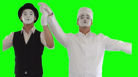 acteur : Mime in white robe with stethoscope and mime in black and white clothes thanking. The patient and doctor performing show. Two actors making show on green background. Chromakey