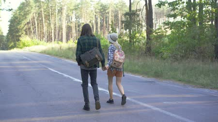 verhuizen : A couple of young caucasian tourists in plaid hipster shirts walking away along the road in the forest and chatting. Back view. Stockvideo