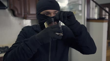 přestupek : Portrait of young caucasian thief in black clothes and balaclava drinking alcohol from the glass. The guy stealing things in rich house. Concept of offense against the law, crime Dostupné videozáznamy