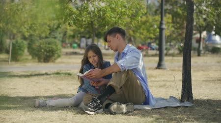 verse : Careful teenage boy with his small sister reading book with poems or tales sitting outdoor in park in sunny autumn day Stock Footage