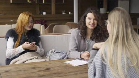 escrito : Three caucasian girlfriends sitting at the table in the cafe. One girl holding phone, two another discuss project written in notebook. Young women relaxing together indoors. Autumn leisure. Friendly meeting Vídeos