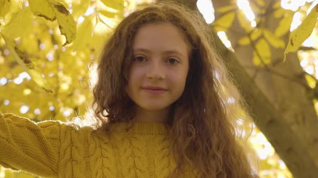 hardal : Little redhead caucasian girl standing in the autumn park in sunrays. Child with long hair and brown eyes looking at the camera on the background of yellow leaves