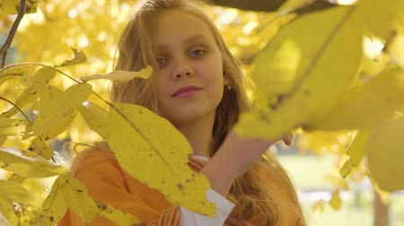 mustár : Close-up of a pretty blonde caucasian girl in mustard scarf posing to the camera. Child with long hair and green eyes standing in the autumn park between yellow leaves