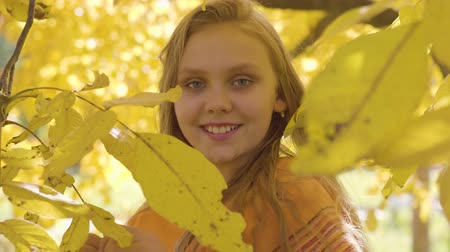 mustár : Close-up of a cute blonde caucasian girl in mustard scarf posing to the camera. Child with long hair and green eyes standing in the autumn park behind yellow leaves