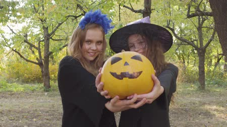 čarodějnice : Two cute caucasian children showing yellow pumpkin to the camera. Girls in Halloween costumes standing in the autumn park and smiling
