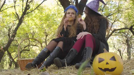 tüm : Cute caucasian girls in Halloween costumes eating cookies in the autumn forest and chatting. Yellow pumpkin and straw basket laying next to the friends