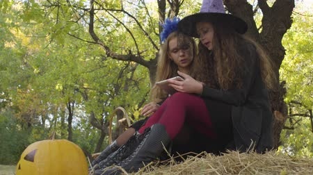 čarodějnice : Side view of two pretty caucasian girls in Halloween costumes sitting in the autumn forest and using tablet Dostupné videozáznamy