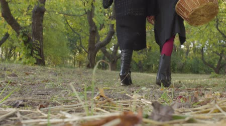 urlop : Two women walking away in the autumn forest. Close-up of girls in black boots and Halloween clothing leaving