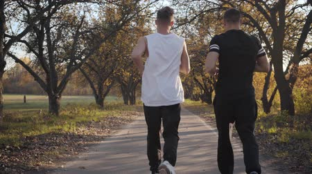 flexibilidade : Back view of two sportive Caucasian men running in the autumn park. Strong young men preparing for competitions outdoors. Healthy lifestyle concept
