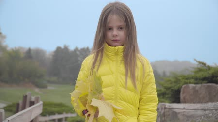 Portrait of a cute Caucasian girl in yellow coat standing in the autumn park. Pretty child with a bunch of yellow leaves on the background of blue sky