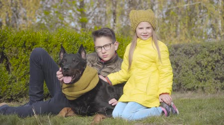 Teenage Caucasian boy in eyeglasses and his sister in yellow coat sitting on green grass with beautiful doberman in mustard scarf. Cheerful girl and her brother spending time with their dog outdoors