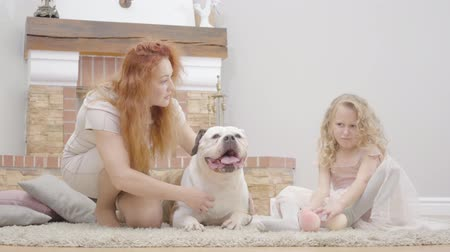buldogue : Redhead Caucasian mother and upset blond daughter playing with their dog. Adult woman and little girl resting with pet bulldog at home. Family resting indoors