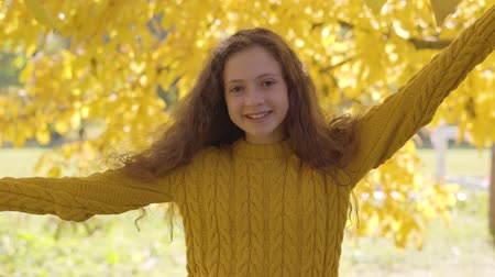 femme rousse : Cute caucasian redhead girl posing on the background of yellow leaves. Child with long curly hair in mustard sweater resting in the autumn park Vidéos Libres De Droits