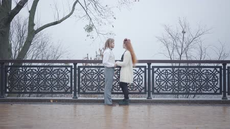 pareja elegante : Wide shot of young Caucasian couple standing face to face at the bridge and talking. Stylish boy and girl dating in the autumn park. Old-fashioned man and redhead woman spending time together