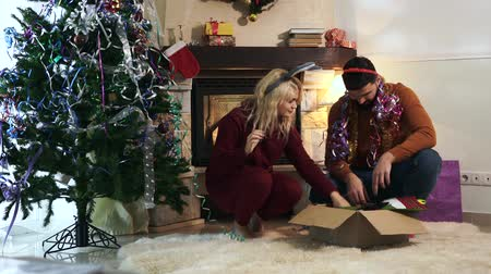 ukulele : Positive Caucasian man and woman choosing Christmas decorations in box as husband taking out ukulele. Cheerful girlfriend and boyfriend having fun as decorating house on New Years eve