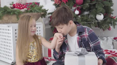 pocałunek : Portrait of cute Caucasian little boy taking girls hand and kissing it. Charming lady in beautiful dress and shy guy spending New Years eve together at home. Holidays, celebration, first love